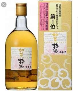 日本直送 全新 日本加賀梅酒萬歲樂720ml