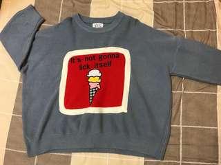 🚚 七成新/冰淇淋圖案寬版厚毛衣
