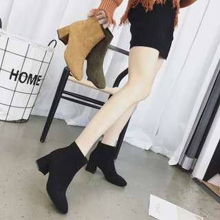 Pointed High Ankle Boots/Heels