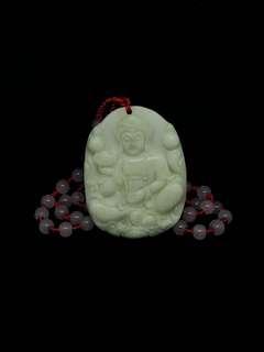 缅甸玉 观音雕祽 琉璃珠链