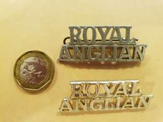 Genuine WW2 British Army Royal Anglian Regiment  Titles