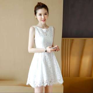 S-2XL Flower Pasted Sleeveless Design Lace Dress