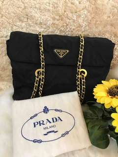 Prada Authentic Tessuto Canvas Flap Chain Bag