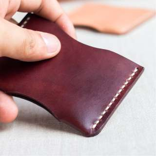 Premium Full Grain Leather Card Sleeve | Handstitched | Handmade