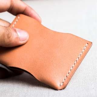 Premium Full Grain Leather Card Sleeve   Handstitched   Handmade