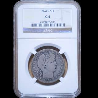 Graded NGC Barber half dollar G4 1894s