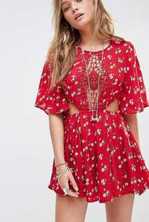 ASOS Kiss The Sky Festival Playsuit in Ditsy Red Floral