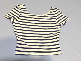 H&M 藍白條紋短版上衣