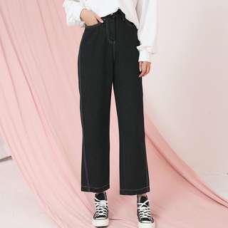 黑色闊腿高腰直筒牛仔褲
