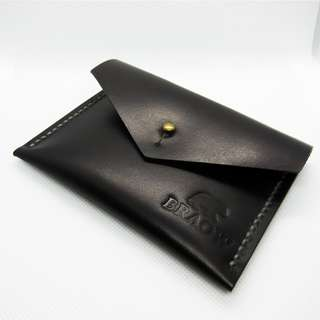 Handcrafted & Hand Dyed Black Knight Authentic Leather Pouch | Handstitched | Handmade