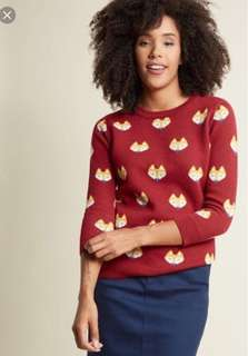 MODCLOTH FOX FACES PULLOVER SWEATER IN RED