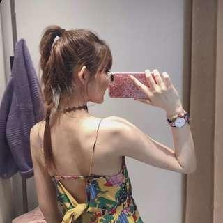 2018夏季韓版溫柔ins超火a字裙度假吊帶無袖印花連衣裙女潮