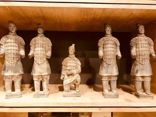 Vintage Grey / Black standing Chinese Warrior Figure Lot of 5 Terracotta Army