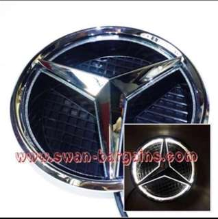 WHITE Mercedes Benz 2013-2017 A B C E Class CLA Car Front Radiator Grille Illuminated Star Emblem LED Logo LED Light