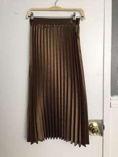 OAK+FORT Metallic Pleated Skirt