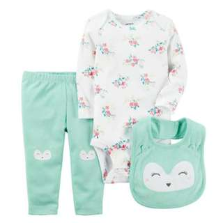Carter's 3 Piece White Floral Printed Bodysuit and Green Owl Applique Leggings with Matching Bib Set
