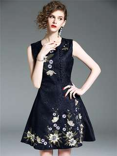 Formal: Blue Chic Single-Breasted Floral Embroidered Tank A-Line Dress (S / M / L / XL) - OA/XKE042310