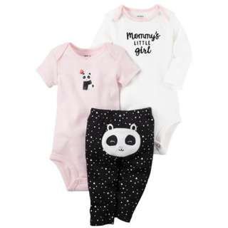 Carter's 3 Piece White Slogan and Pink Panda Applique Bodysuits with Turn Me Around Detail Pant Set