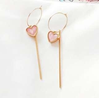 Ladies Korean Cute Love Heart Shape Marble Gold Chain Pendant Drop Earrings