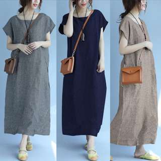 ZANZEA Women Summer Batwing Short Sleeve Vintage Baggy Long Dress