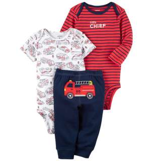 Carter's 3 Piece Red/ Blue Slogan Printed Bodysuits with Turn Me Around Detail Pant Set