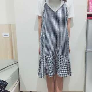 黑白格子洋裝(9成新)