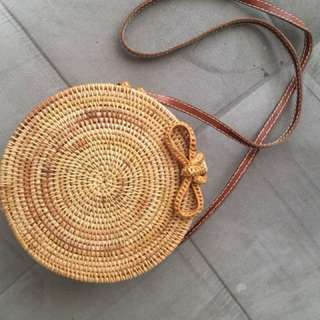 Bohemian Straw Satchel - Brand New