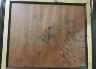 Lukisan Kertas Hendra Gunawan *dekor