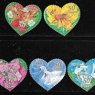 2011年日本信銷郵票 G45 春天的問候 異形票5全