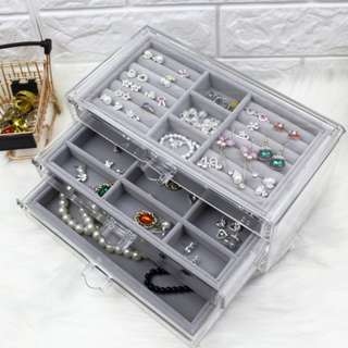 Large dust earrings necklace jewelry box transparent acrylic jewelry storage box jewelry desktop drawer dust box