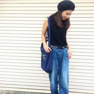 日本 MAISON DE REEFUR 深藍色厚身帆布 手挽 斜咩 兩用袋