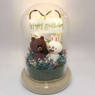 Ready Stock - Dry Flower Terrarium - Brown and Cony