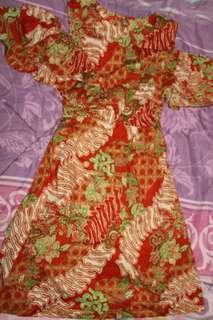 Dress batik cut shoulder cantik