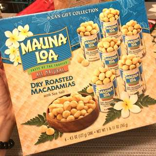 Hawaii Premium Mauna Loa Dry Roasted Macadamias with sea salt - 6 tin gift pack