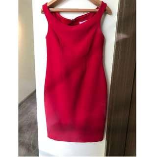 Asos Maternity red bardot off-shoulder dress UK 6