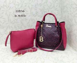 Bonia 2 in 1 Bag Dark Red Color