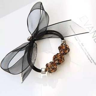 韓國進口東大門黑色蝴蝶精緻捷克鑽馬尾髮圈頭飾