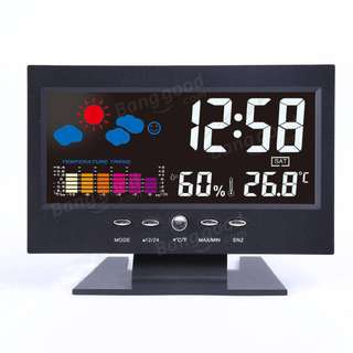 568. Color LCD Screen Calendar Digital Clock Car Thermometer Weather Forecast Black