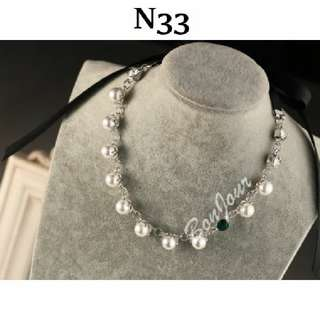 #N33 White Pearls Diamante PU Leather Straps Necklace Sellzabo Neck Accessories Ladies Girls Women Female Lady