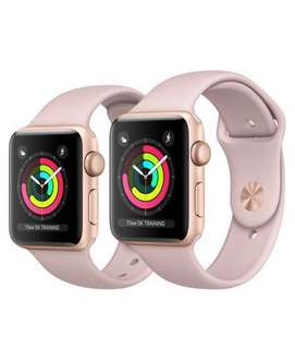 Apple Watch Series 3 (Brand New) GPS + Cellular Gold Aluminium Case with Pink Sand Sport Band 38mm