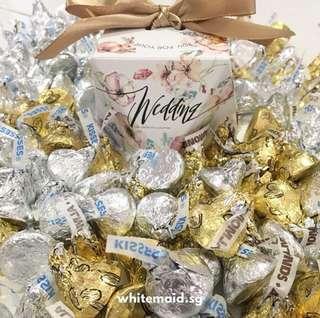 PO Hershey Kisses Filled Champagne Wedding Box