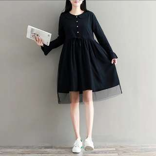 S-2XL Black Coloured Two Layer of Babydoll Dress