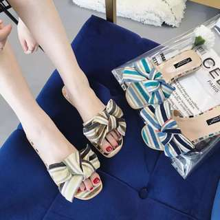 Korean fashion striped big bow one-size flat shoes new fashion slippers beach sandals
