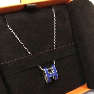 Hermès 愛馬仕經典pop項鍊 銀配皇家藍只有一條!全新