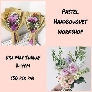 Pastel flower hand bouquet arrangement class