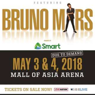 Bruno Mars Lowerbox Standing in Manila (4 tickets available)