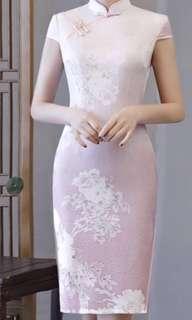 New pink white floral cheongsam qipao