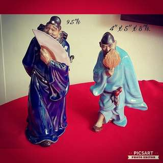 Vintage Chinese Porcelain Figurines of ZHONG KUI ($28) & JI GONG ($18). Medium size, refer to photo for sizes. Good Condition no chip no crack. Both for $38 offer, sms 96337309.