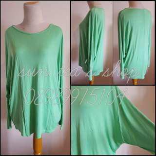 Green batwing loose long blouse
