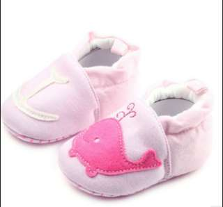 Pink whale prewalker shoes